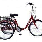 Popal Adult Tricycle Dreirad 24 Zoll Fahrrad Erwachsene Seniorenrad , Farben:rot